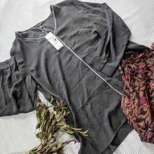 Eileen Fisher Silk Georgette Crepe Top in Graphite